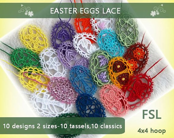 Eggs Easter FSL No.295  4x4hoop  Machine by EmbroideryRady on Etsy