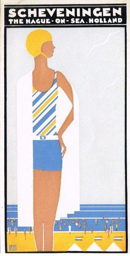 Graphic design by Louis Christiaan Kalff (1897-1976), ca. 1931, La Hague on Sea, Holland, Scheveningen. (one of four flyers, Dutch)