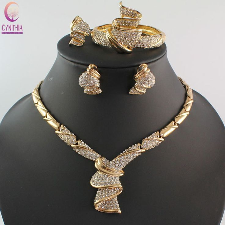 Jewelry Sets African Beads Collar Statement Necklace Earrings Bangle Fine Rings For Women Rhinestone Wedding Party Accessories