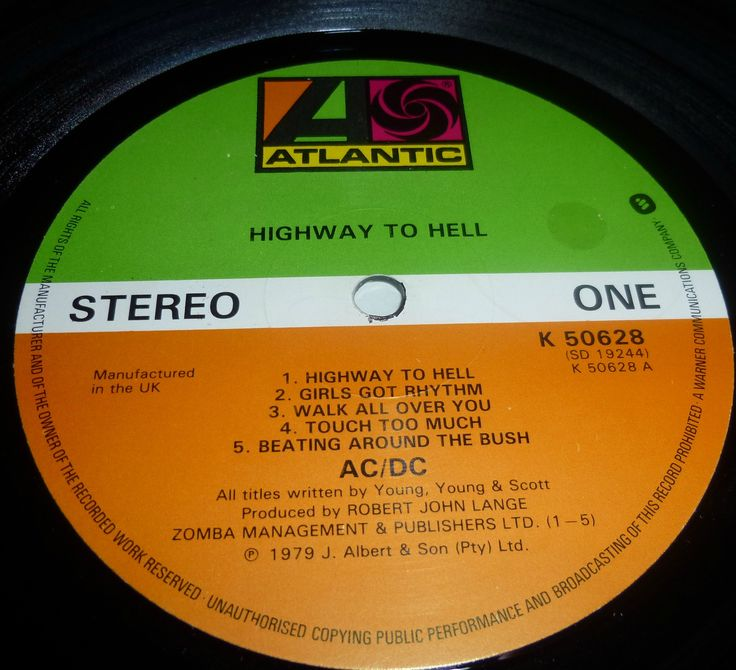 highway to hell original label