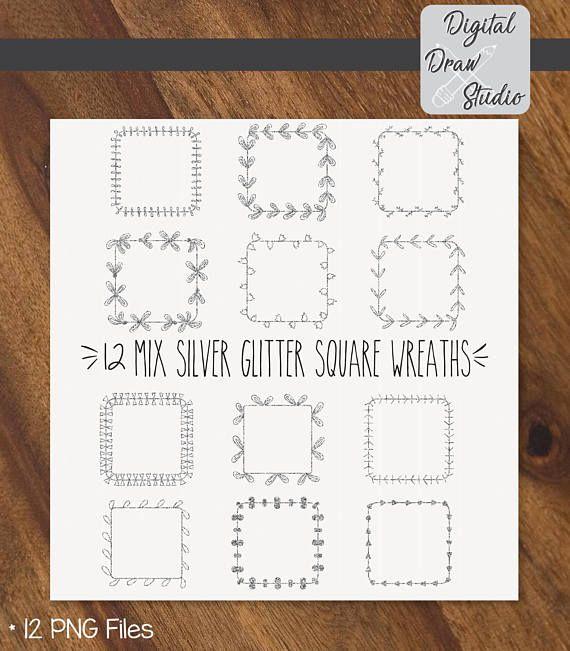 12 Silver Glitter Square Wreaths Clip Art  Square Hand Drawn
