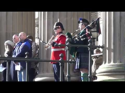 This is the Last Post played at St Georges Hall Cenotaph in Liverpool which was Grade I listed today. It is particularly atmospheric here because of the fog horns, seagulls and still strong memories of a city crucial to the Battle of the Atlantic. (11 November 2012)