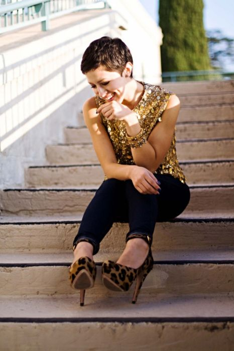 leopard shoes, heavily gilded gold top