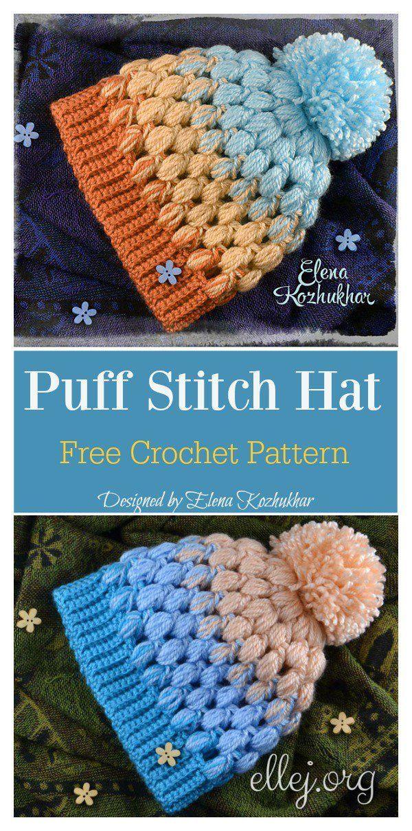 Baby Puff Stitch Hut Free Häkelanleitung #freecrochetpattern ...