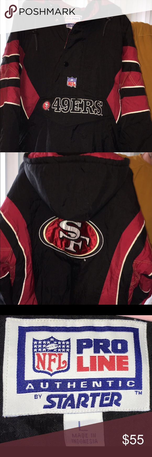 Men's NFL 49ers jacket Men's size large 49ers Jacket. Has a front pouch type pocket as well as side pockets, and has a half zipper from the neck to middle. Has the 49ers logo on back as well as small patches on sleeves. It is an authentic NFL Starter licensed apparel. I'm very good condition as it was worn only several times. Starter Jackets & Coats