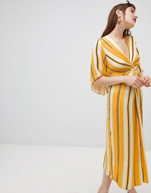 97e14a3dfe River Island | River Island smock midi dress with knot detail in stripe