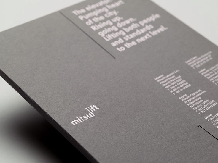 Graphic identity and print by Base Design for elevator specialist Mitsulift