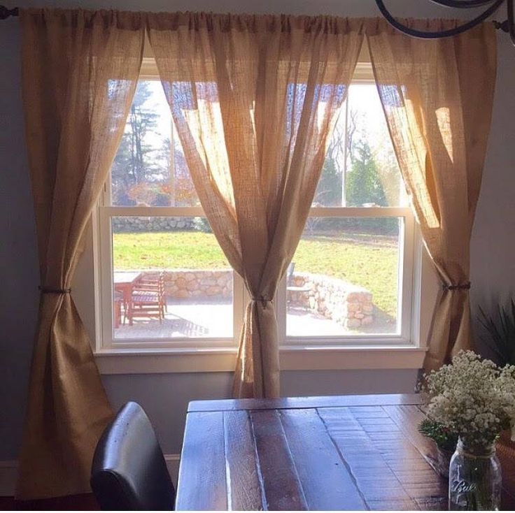 Set of 2 No Odor Burlap Curtain Panels Rustic Window Treatment Modern Farmhouse Curtain Panels Custom Sizes Available by theruffleddaisy on Etsy https://www.etsy.com/listing/525458033/set-of-2-no-odor-burlap-curtain-panels