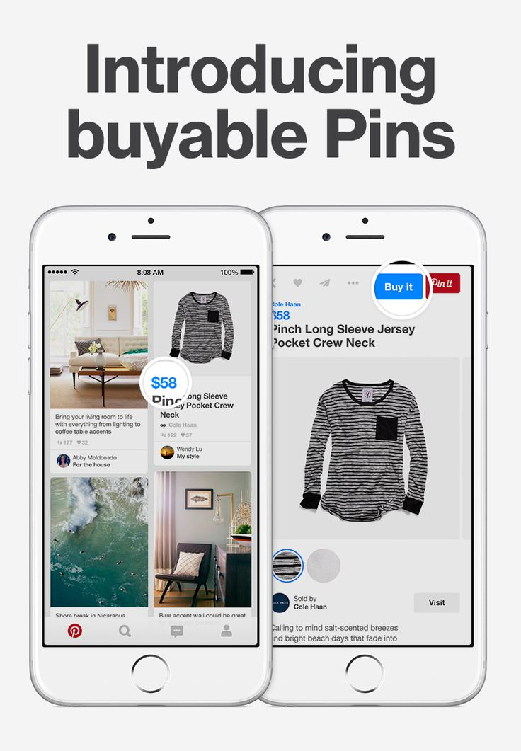 "You can buy any Pin with a blue price tag. Tap ""Buy it"" and enter your details to check out right from Pinterest."