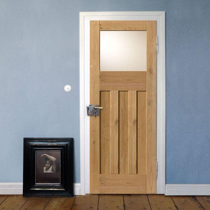 Rustic Oak 1930 DX Shaker Prefinished Door With Obscure Safety Glass. #perioddoor #internaldoor #rusticdoor