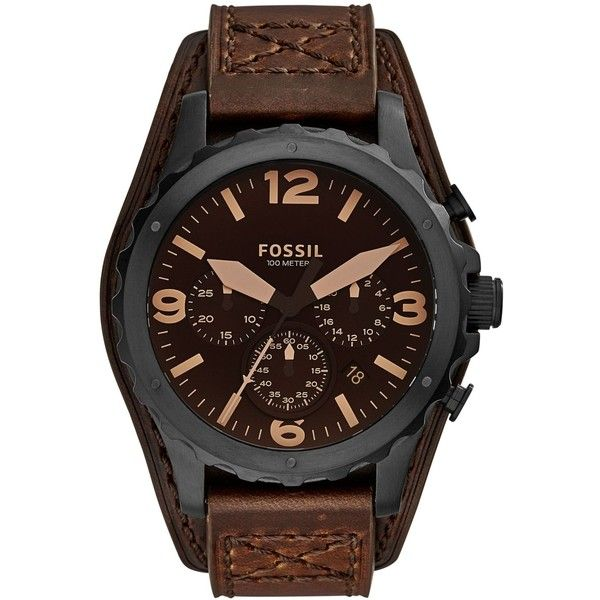 Fossil Men's Chronograph Nate Dark Brown Leather Strap Watch 46mm... ($155) ❤ liked on Polyvore featuring men's fashion, men's jewelry, men's watches and no color