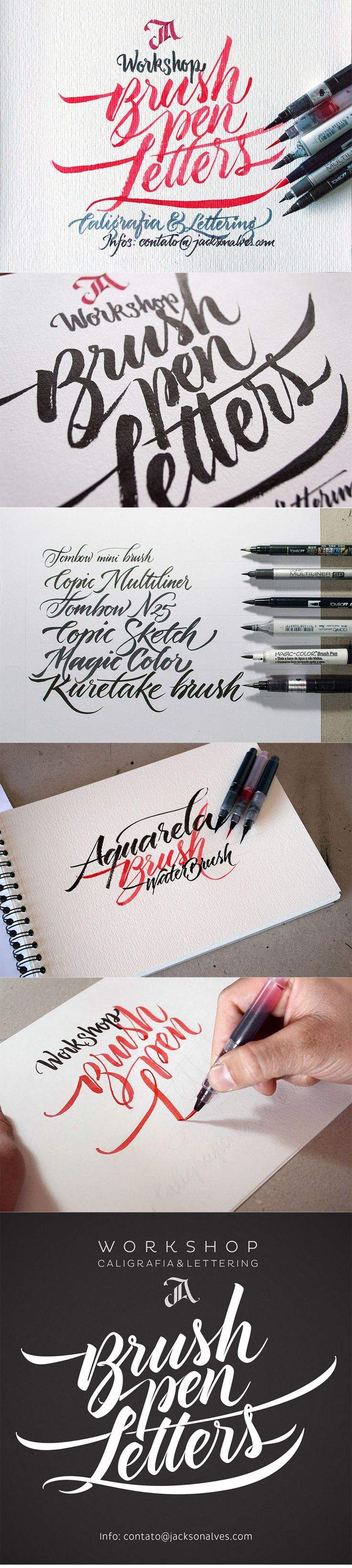 Buen recuerso: https://www.behance.net/gallery/18025625/Workshop-Brush-pen-Letters