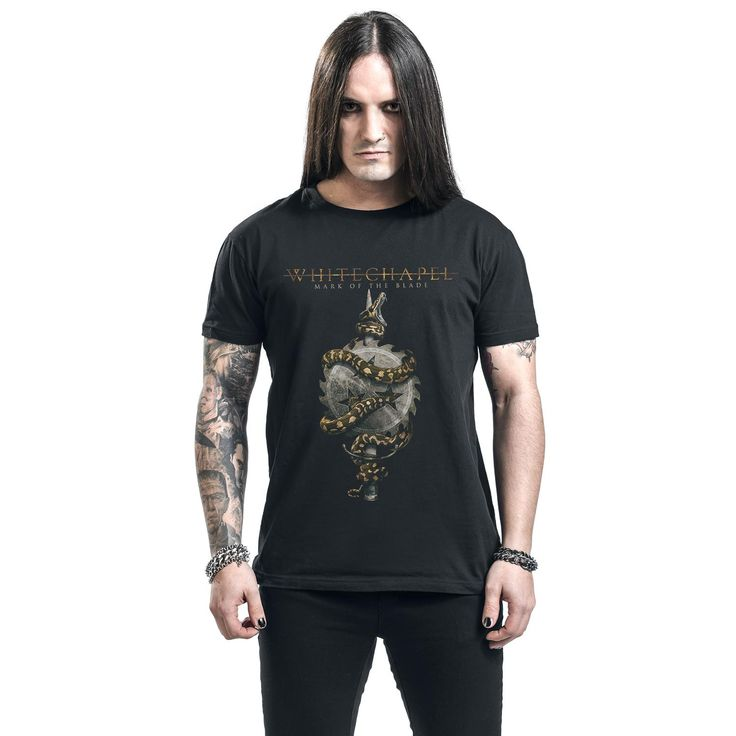 "Classica T-Shirt uomo nera ""Mark of the blade"" dei #Whitechapel."