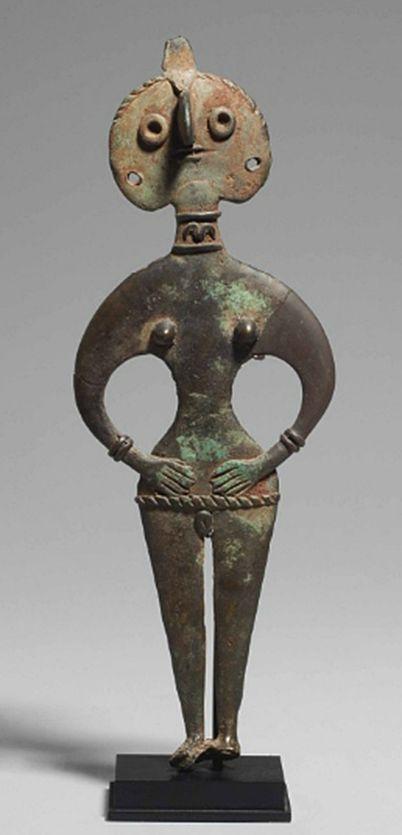 A SYRIAN BRONZE GODDESS   MIDDLE BRONZE AGE IIA, CIRCA 1950-1750 B.C.