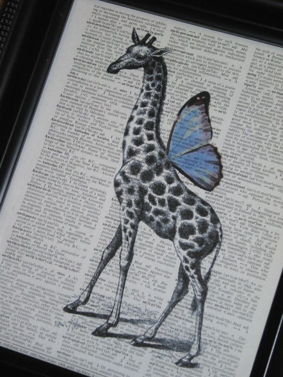 Steampunk Giraffe Blue Wings Dictionary Print Dictionary Art Book Page Print A QBS Original Vintage Dictionary