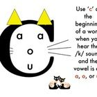 These three mini posters illustrate a few rules when using the consonants c, k, and the digraph ck....