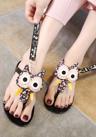 759d8faa1 Black Round Toe Flat Cute Owl Plastic Slippers