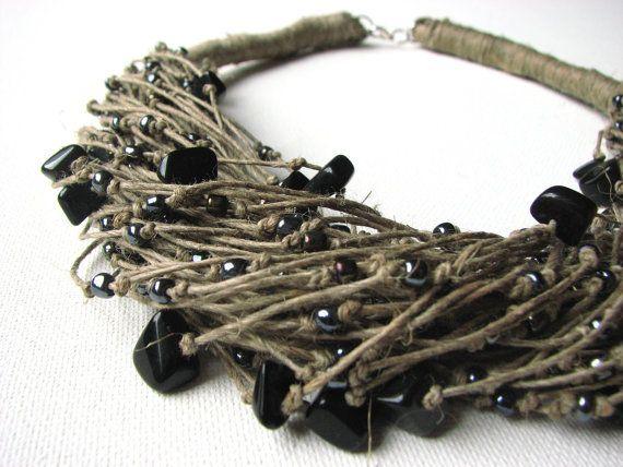 Black ONYX raindrops  linen necklace by GreyHeartOfStone on Etsy