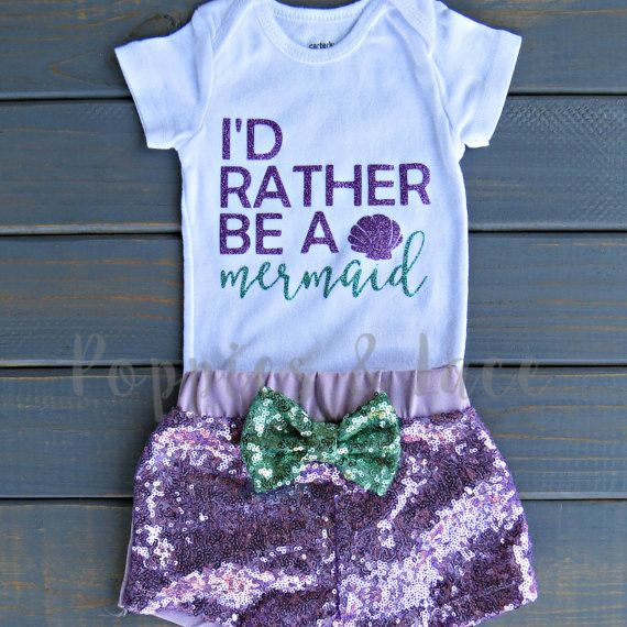 ***Please check shop announcement for current processing times!***  Throwing an Under the Sea themed birthday party or have a little mermaid on your hands? Then this top is for you! This design features Id Rather Be a Mermaid in purple and mint glitter lettering. The shorts are made with a purple sequin fabric on the front, a soft cotton knit on the back and adorned with an adorable mint sequin bow! So cute…