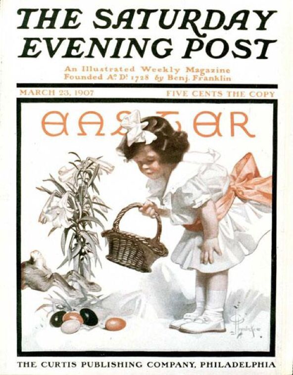 Can you find the Easter bunny in this 1907 Post cover by J.C. Leyendecker?