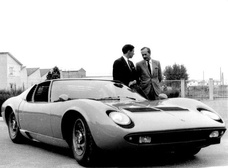Lamborghini Miura, with Jim Clark and Colin Chapman.