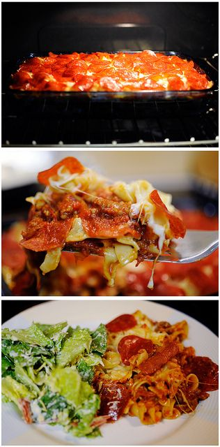 Delicious Pizza Casserole!I-ngredients: sausage - onion, chopped- pizza sauce- Mozzarella cheese- pepperoni