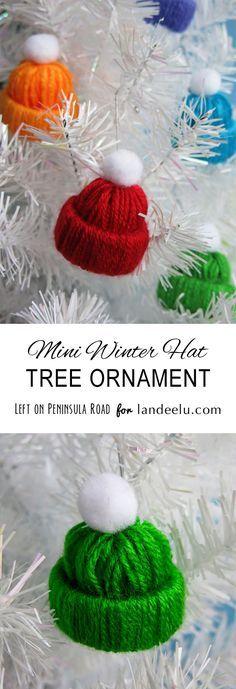 Darling Winter Hat Tree Ornament Yarn Craft DIY | Landeelu - Easy and Cheap DIY Christmas Tree Ornaments