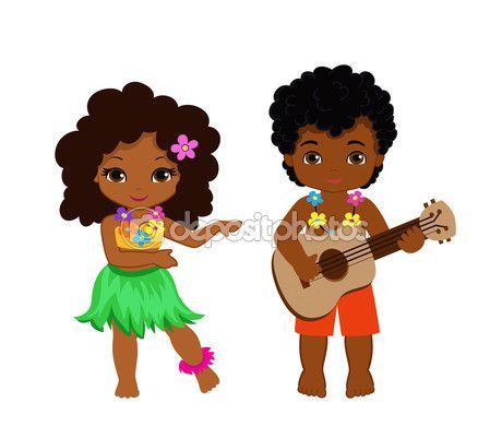 Ilustração do menino tocando guitarra e dança de hula havaiano menina — Vetores de Stock © Sandylevtov #111860248
