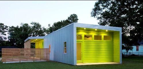 great use of color - would be even better with a slightly darker green highlighting door and window frames.
