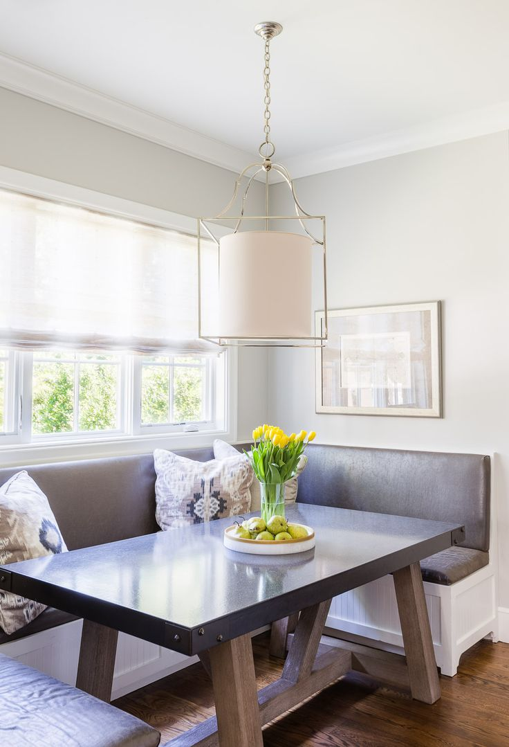 Bright and airy breakfast nook with custom booth. Build and Design //  Austin Bean Design Studio Photography // Alyssa Rosenheck Featured // Elle  Decor
