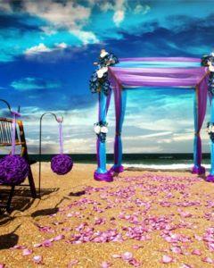 Purple beach wedding aisle decor lavender petals aisle decor for beach wedding