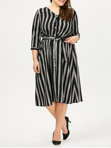 GET $50 NOW | Join RoseGal: Get YOUR $50 NOW!http://www.rosegal.com/plus-size-dresses/button-up-stripe-plus-size-1060703.html?seid=8096756rg1060703