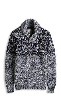 Shawl collar knit