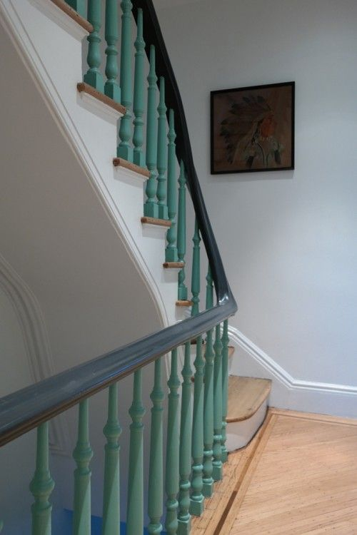Native American artwork and minty stairs. A little Texas in Brooklyn