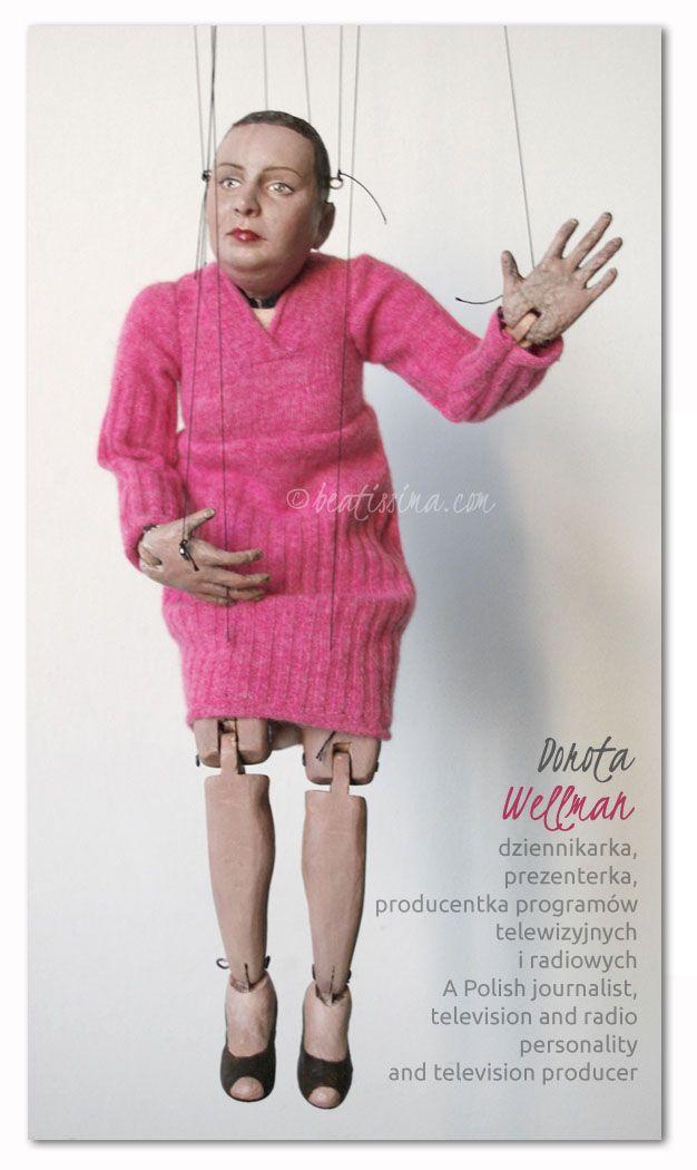 Lalka artystyczna, lalka portretowa, portret dziennikarki Doroty Wellman.  A doll portrait of a well-liked Polish journalist and a TV host.  Portret lalkowy - marionetka portretowa znanej i lubianej dziennikarki i prezenterki TVN.