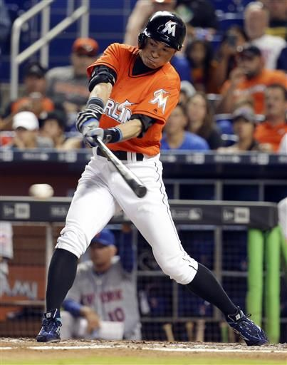 FILE - In this June 5, 2016, file photo, Miami Marlins' Ichiro Suzuki hits a single during the eighth inning of a baseball game against the New York Mets in Miami. The 42-year-old Miami player is chasing 3,000 hits in the majors. (AP Photo/Lynne Sladky, File) ▼15Jul2016AP|He was there: Piniella cheers as Suzuki chases 3,000 hits http://bigstory.ap.org/article/0bf88692d06d40af92b6a5ec78c6da0d/ #イチロー #Ichiro_Suzuki