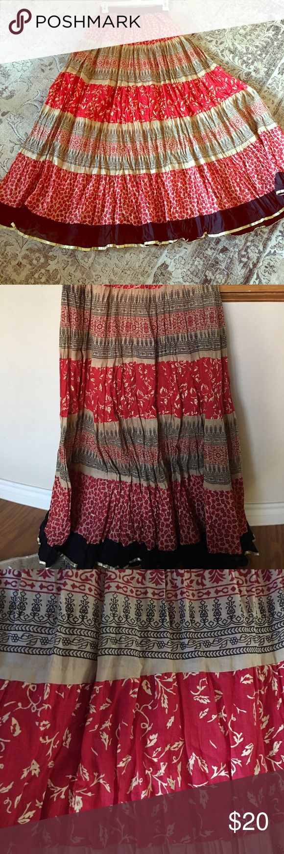 """BOGO 1/2 sale❗️Chic Indian skirt Absolutely gorgeous maxi skirt with lots of patterns. Material is naturally wrinkled. Very flowy and flattering all the way down to your toes!! Great work with white or black shirt. Purchased from India never worn. Size on it shows XL but it fits like a medium to large. Measures 41"""" long independent designer Skirts Maxi"""