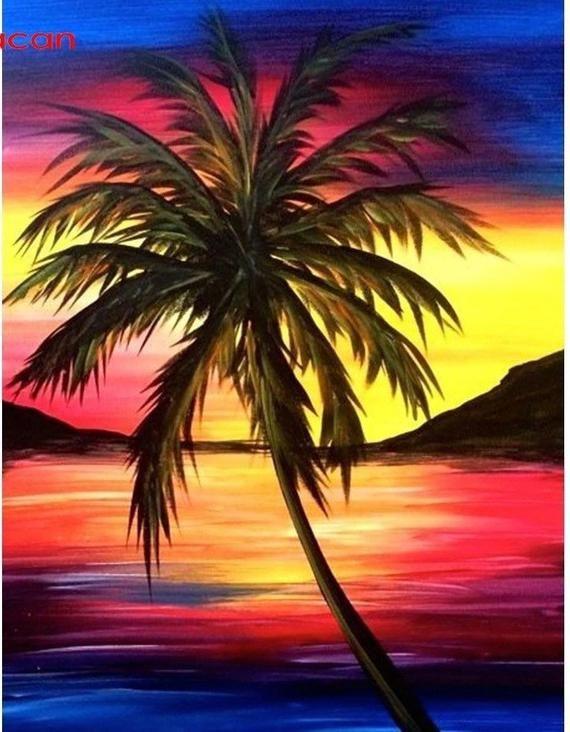Us Seller 50x40cm Stunning Ocean Beach Sunset Palm Tree Diamond Painting Kit Full Drill Square Drills Fas Palm Trees Painting Sunset Painting Tree Painting
