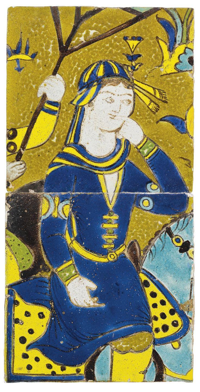 A pair of Safavid cuerda seca tiles depicting Shirin, Persia, 17th century | Lot | Sotheby's