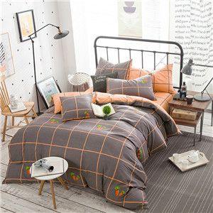 Papa&Mima Orange Lines Gray Queen Size 4pcs Bedding Sets 100% Soft Cotton Bedlinens Duvet Cover Set Flat Sheet Pillow Cases