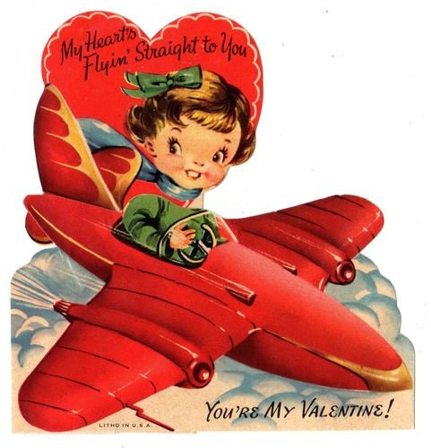 CUTE GIRL AIRPLANE PILOT FLIES PLANE STRAIGHT TO YOU / VINTAGE VALENTINE CARD