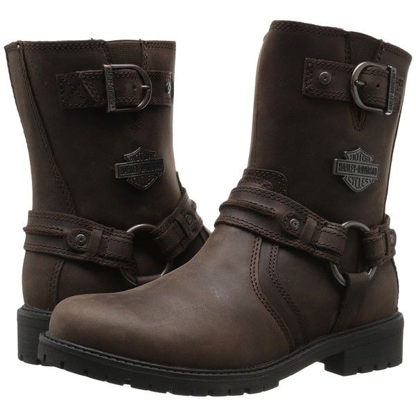 Harley-Davidson Abner (Brown) Men's Pull-on Boots ($96) ❤ liked on Polyvore featuring men's fashion, men's shoes, men's boots, brown, mens side zip boots, mens harness boots, mens side zipper boots, mens brown leather shoes and mens slip on shoes