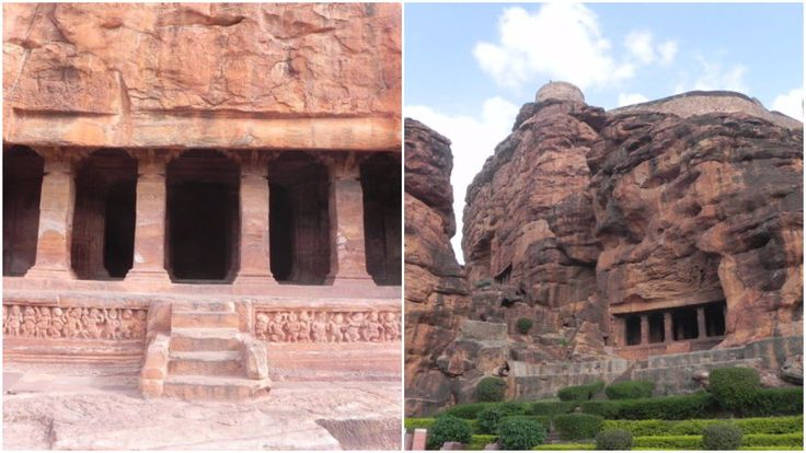 The Badami cave temples are one of the earliest examples of Indian rock-cut architecture
