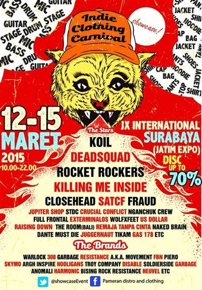 Indie Clothing Carnival 2015 12 – 15 Maret 2015 At JX International (Ex. Jatim Expo) – Surabaya 10.00 – 22.00 Disc Up To 70% http://eventsurabaya.net/indie-clothing-carnival-2015/
