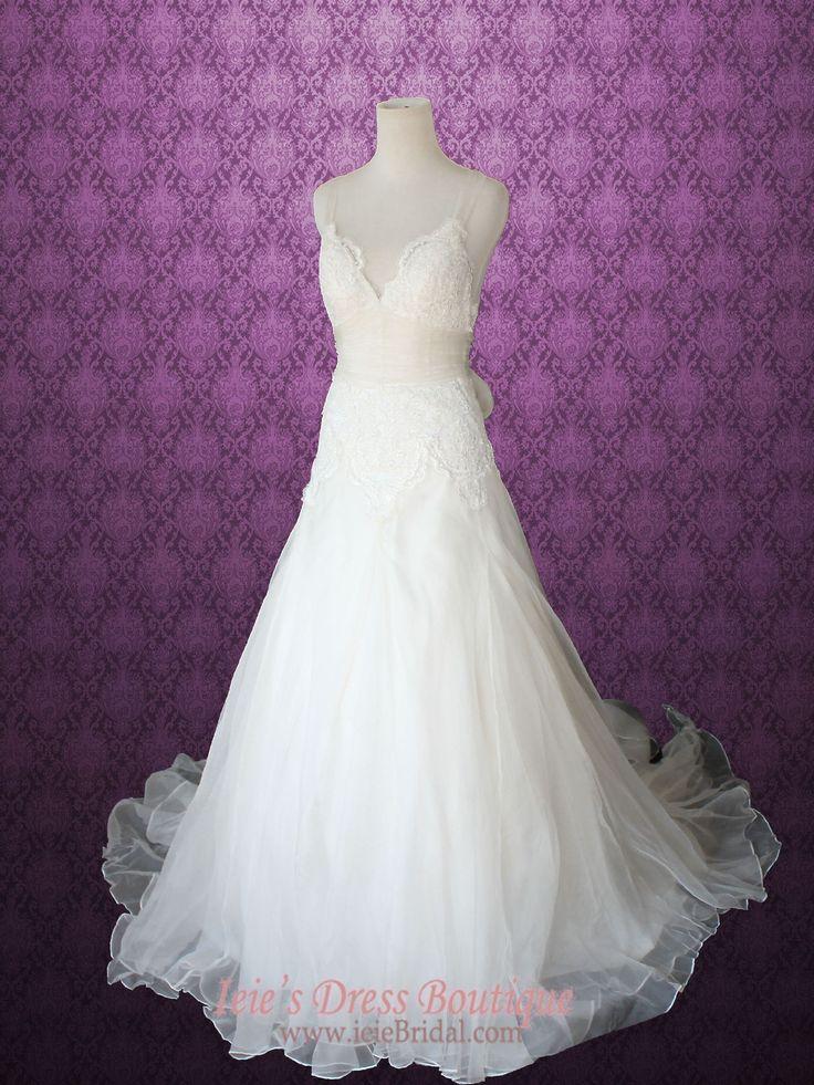 Cross Back Organza V Neck A-line Lace Wedding Gown | Ieie's Bridal Wedding Dress Boutique http://www.ieiebridal.com/collections/beach-wedding-dresses