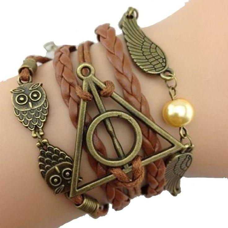 JKR Harry Potter Bracelet 3 en 1 avec pendentifs Hedwige, Vif d'or et logo Reliques de la Mort: Amazon.fr: Bijoux