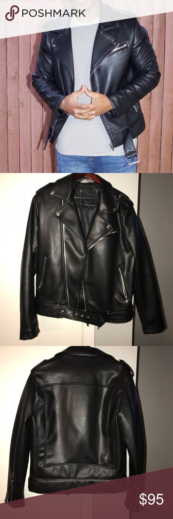 Zara Black Leather Biker Jacket This jacket was worn one time for a modeling shoot in NYC. It's in like new conditions. Zara Jackets & Coats