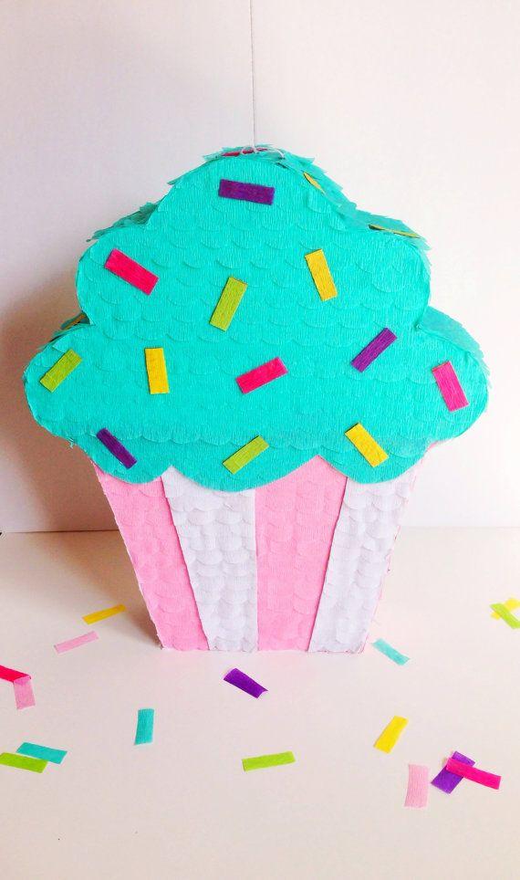 Cupcake Pinata Pink Pinata Birthday Pinata Party by ConfettiLn