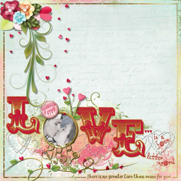 This is for Part 1 of Elizabeth;s February 2017 Dancing With Letters Challenge.  I used Love Grows Kit by Elizabeth's Market Cross.