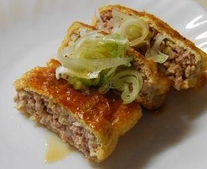 楽天が運営する楽天レシピ。ユーザーさんが投稿した「カリッジュワ♪肉詰め油揚げ」のレシピページです。油揚げの食感がしっかりして肉汁を閉じ込めてくれます。子供にも好評でした。。肉づめ油揚げ焼き。油揚げ,A豚ひき肉,A長ネギ みじん切り,A生姜 みじん切り,A酒,Aみりん,A味噌,A卵,《ネギダレ》,長ネギ